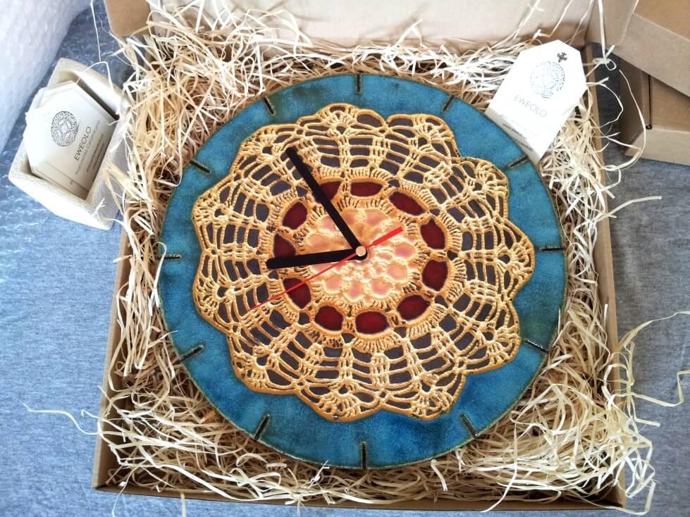 folkowy zegar na prezent
