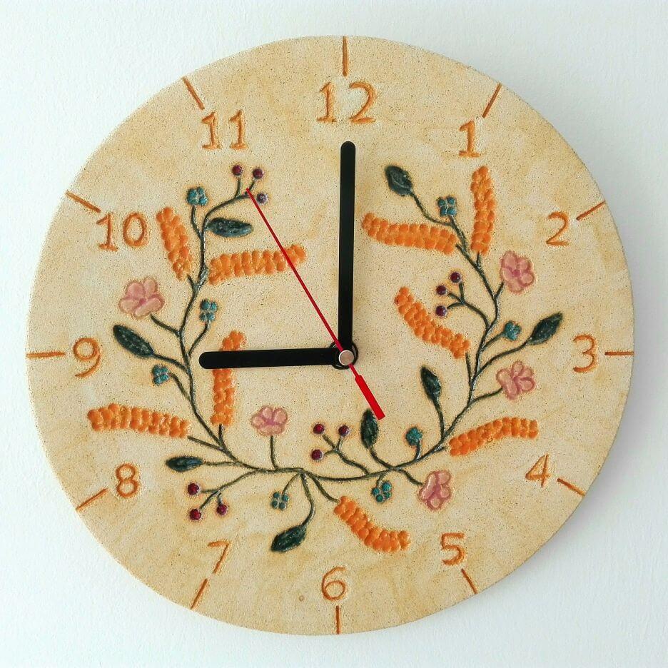 zegar lipcowy wianek kłosy kwiaty zboże
