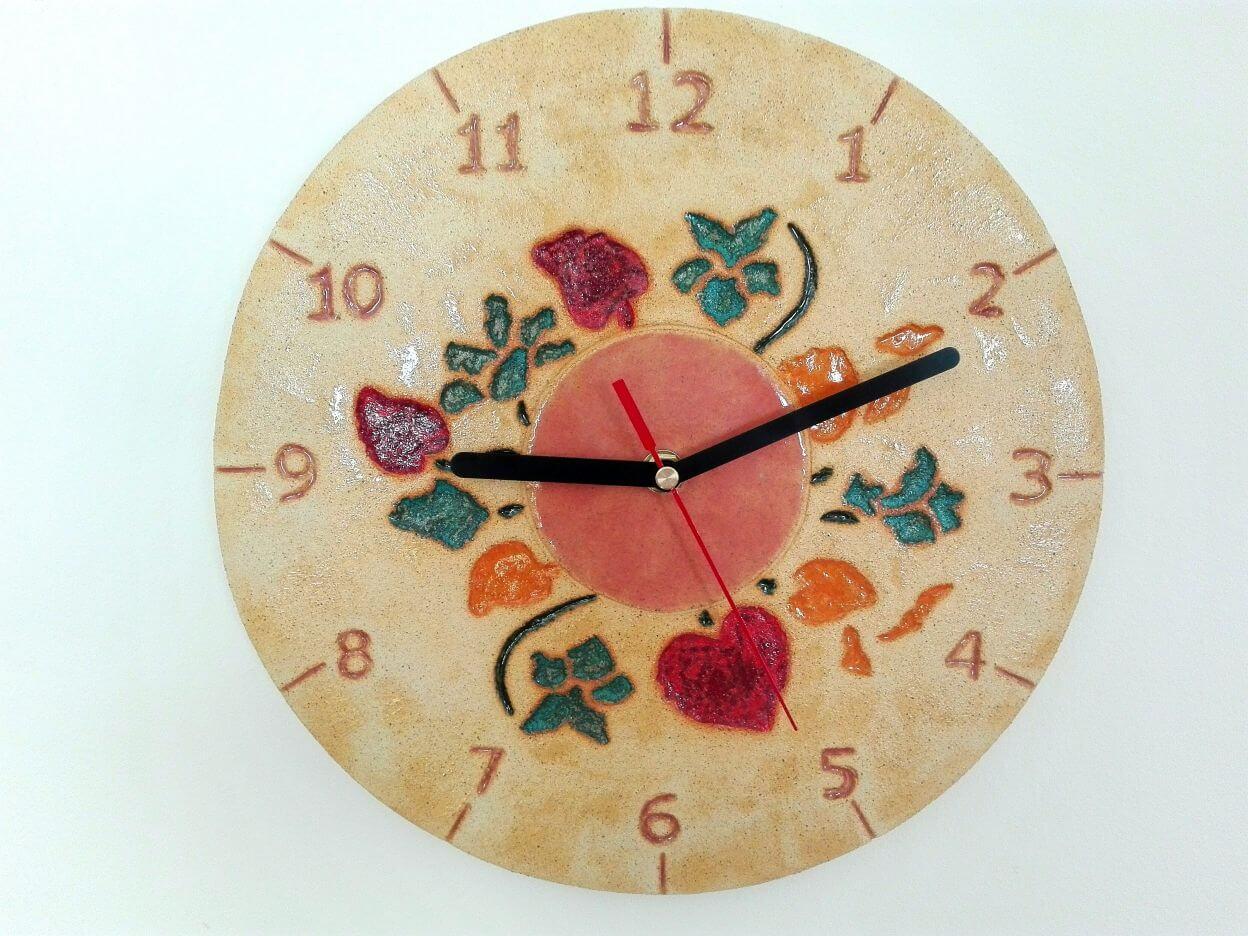 zegar kwiaty ludowy