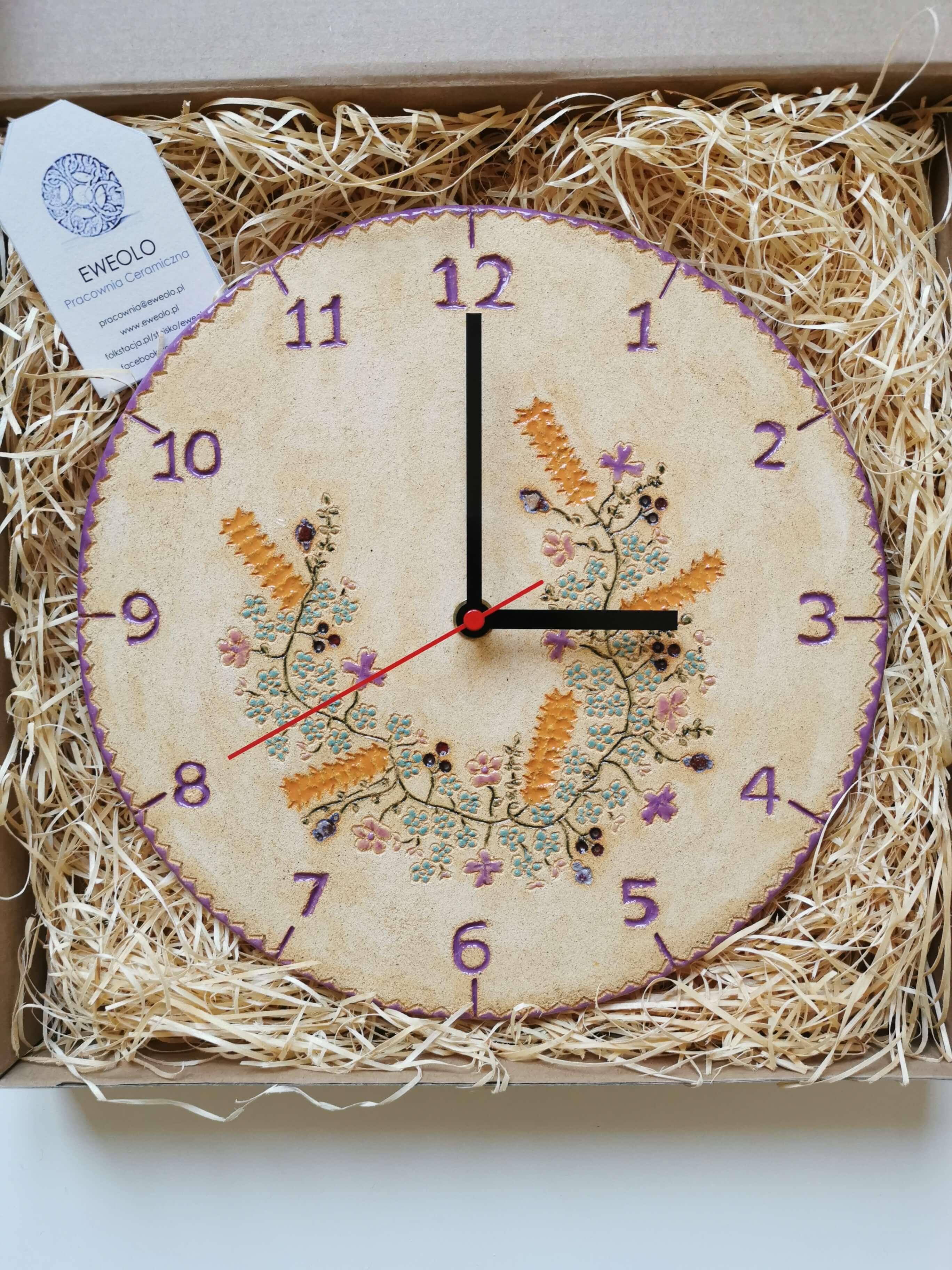 Zegar polny wianek fioletowy