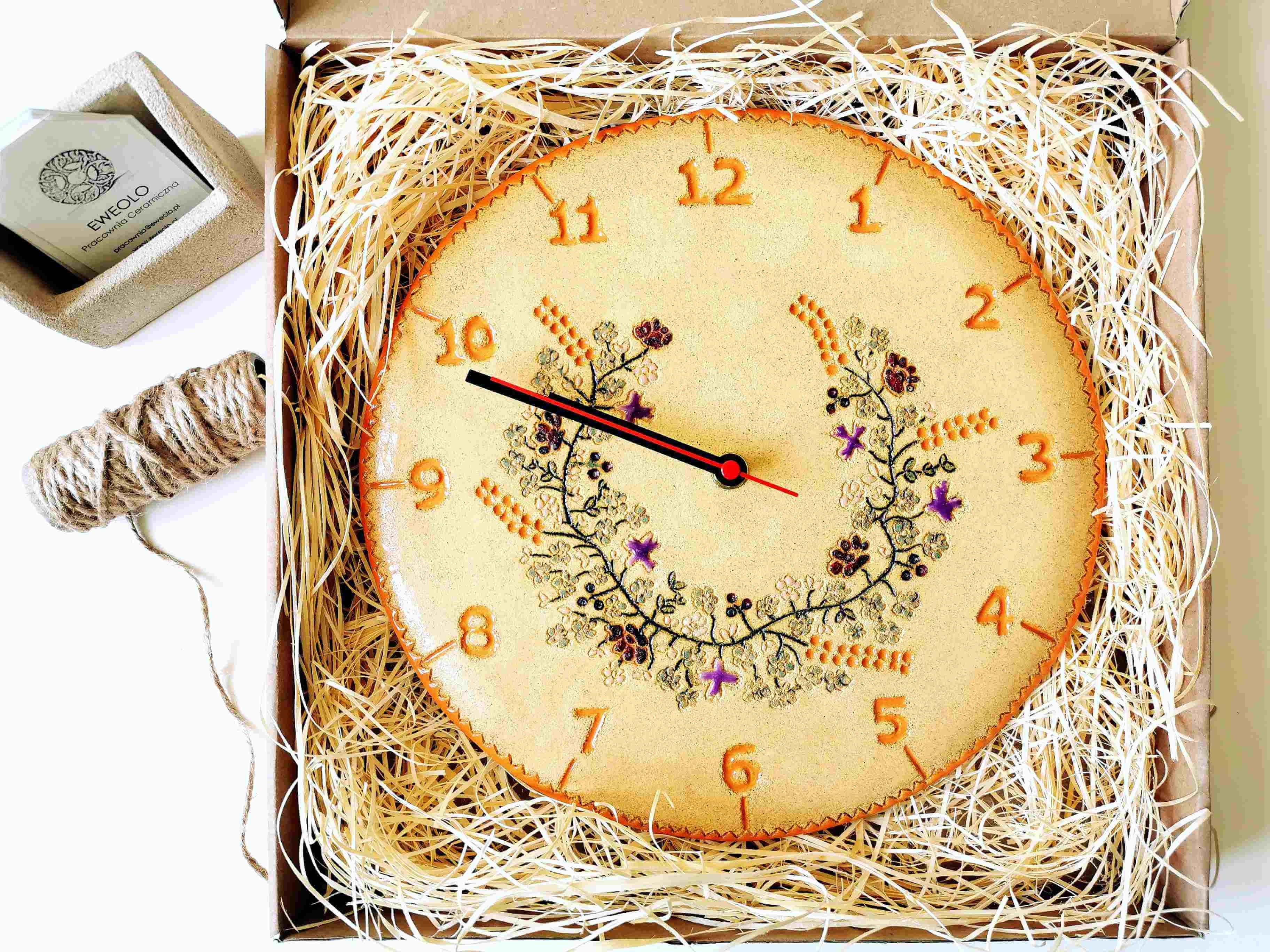 zegar wianek kwiatów polnych