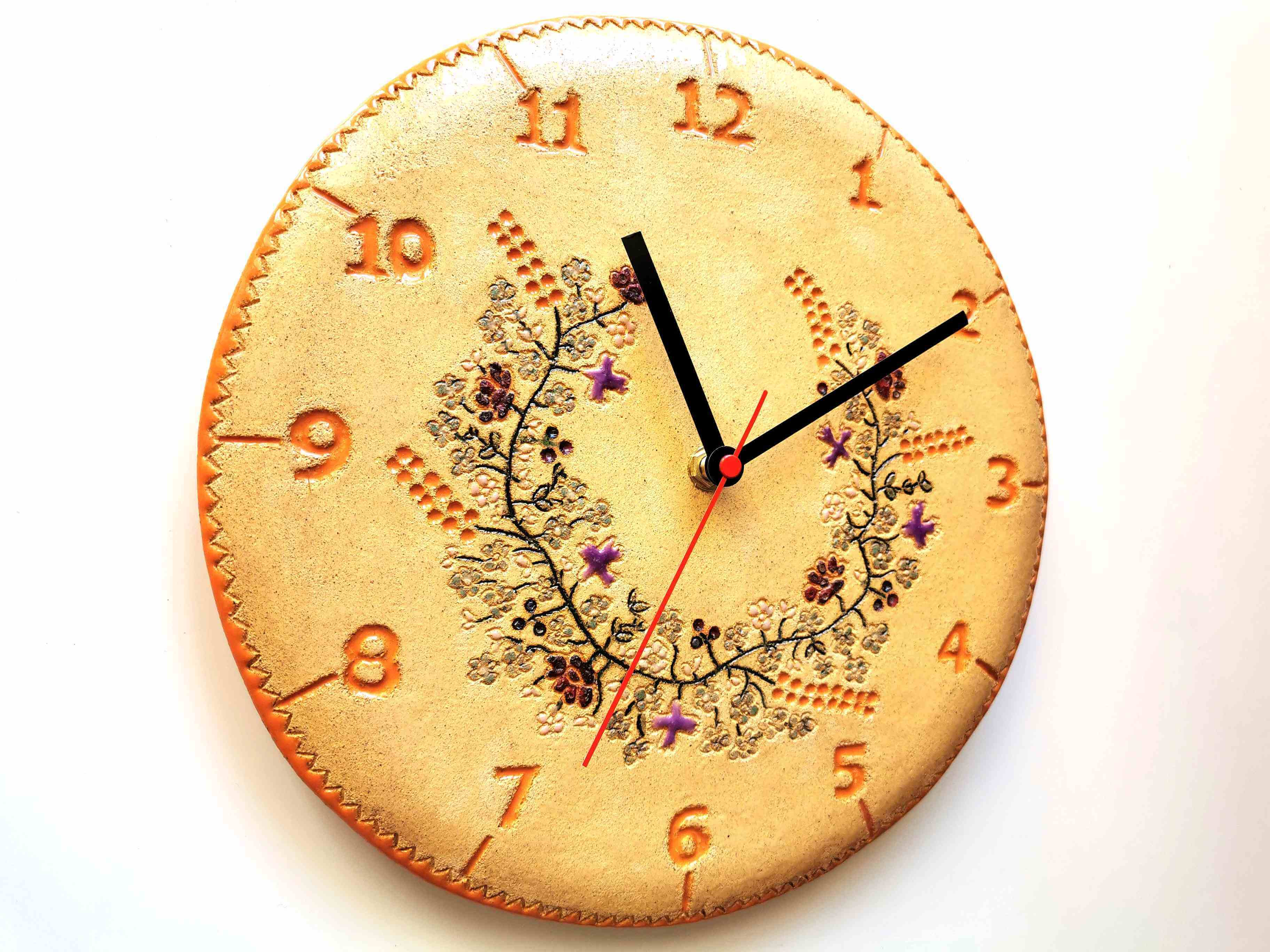 Zegar wianek zbóż i kwiatów