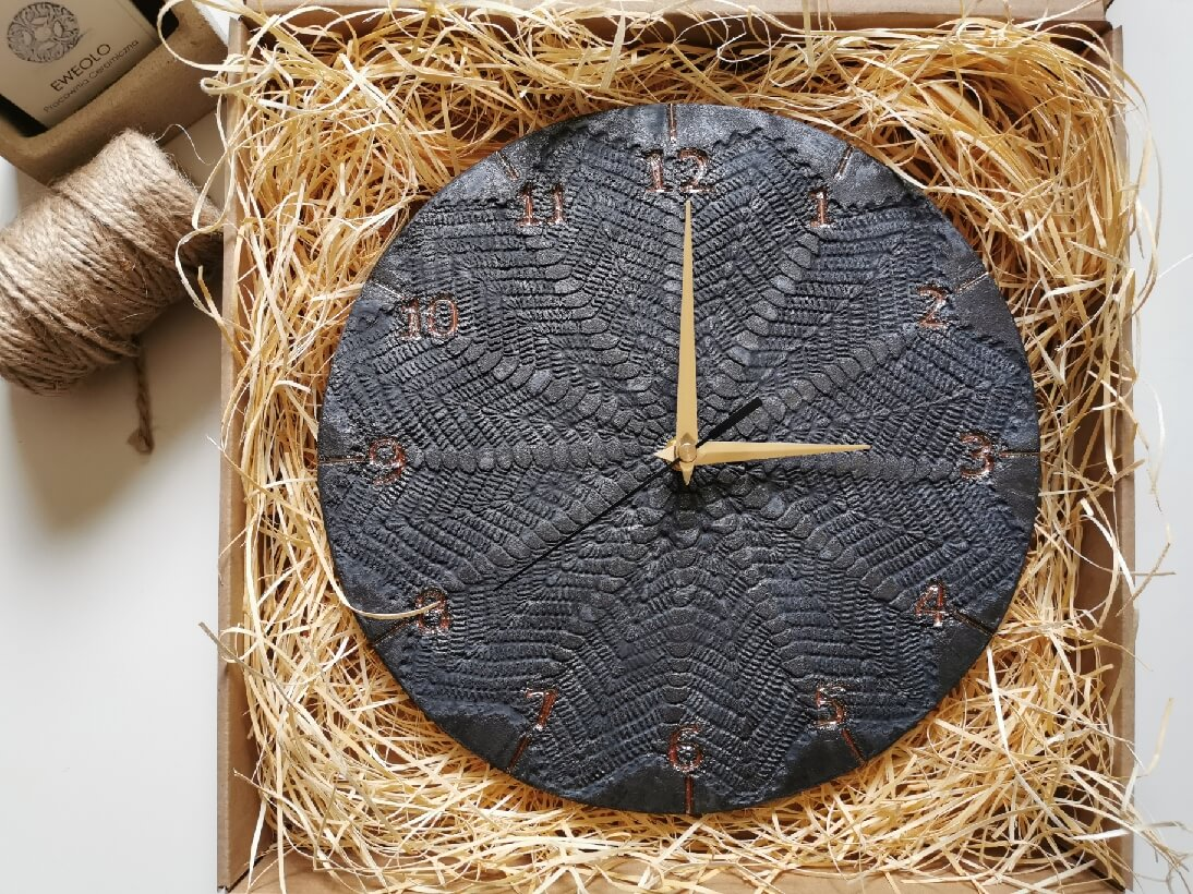 eweolo czarny zegar scienny