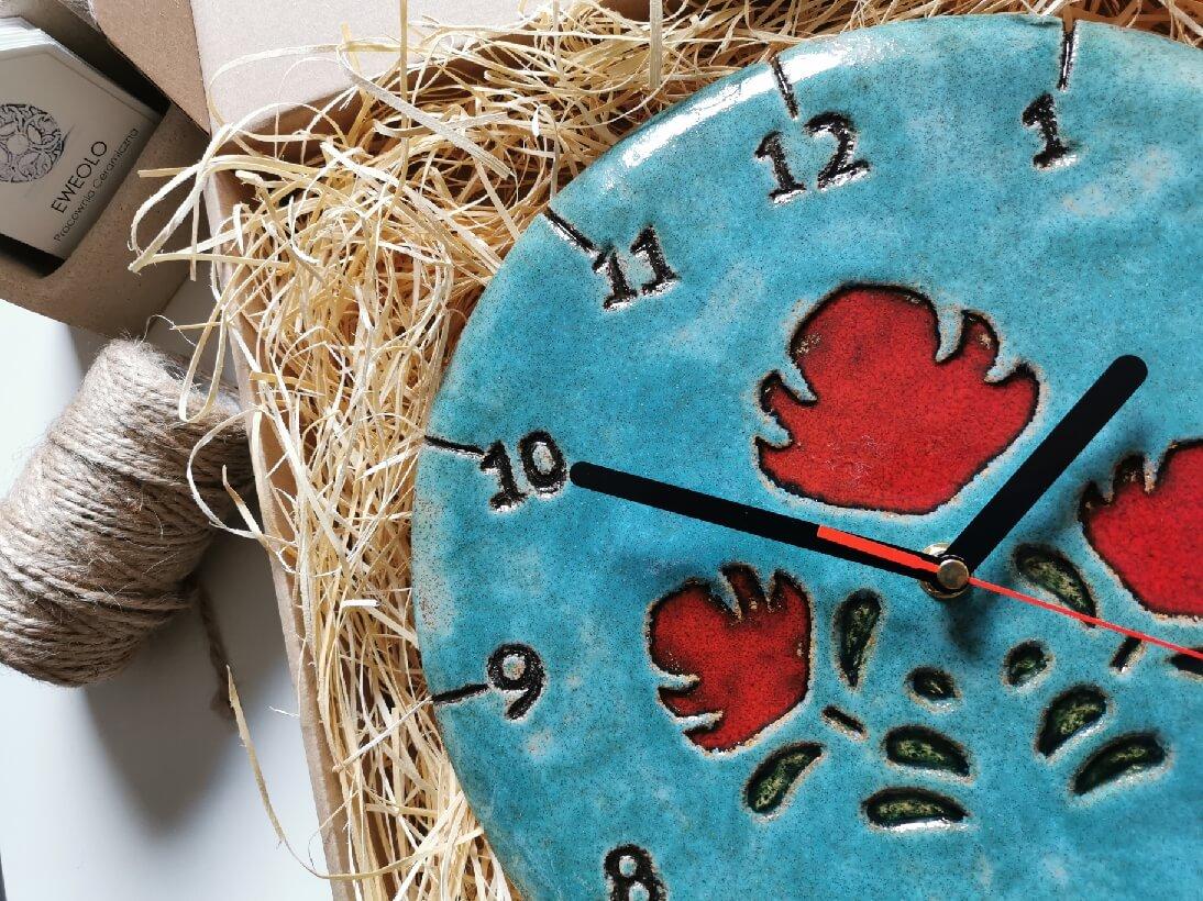 Zegar gliniany folkowy ścienny rękodzieło