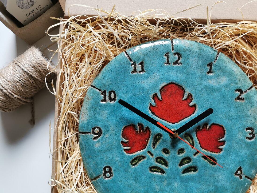 Zegar ceramiczny ludowy ścienny