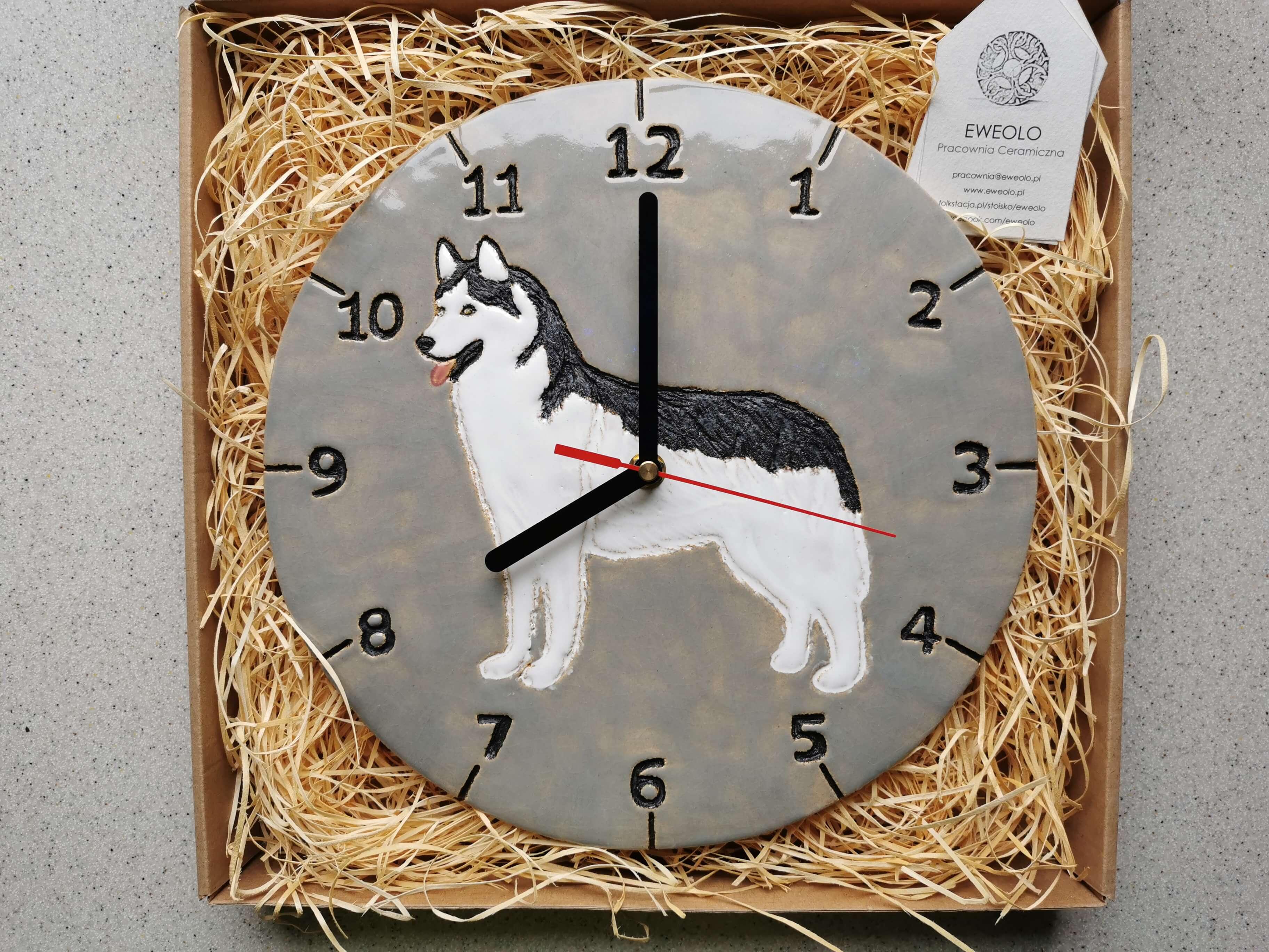 Zegar pies husky dla miłośników psów